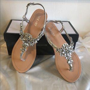 Nine West silver crystal sandals